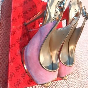 Guess pink gold shoes